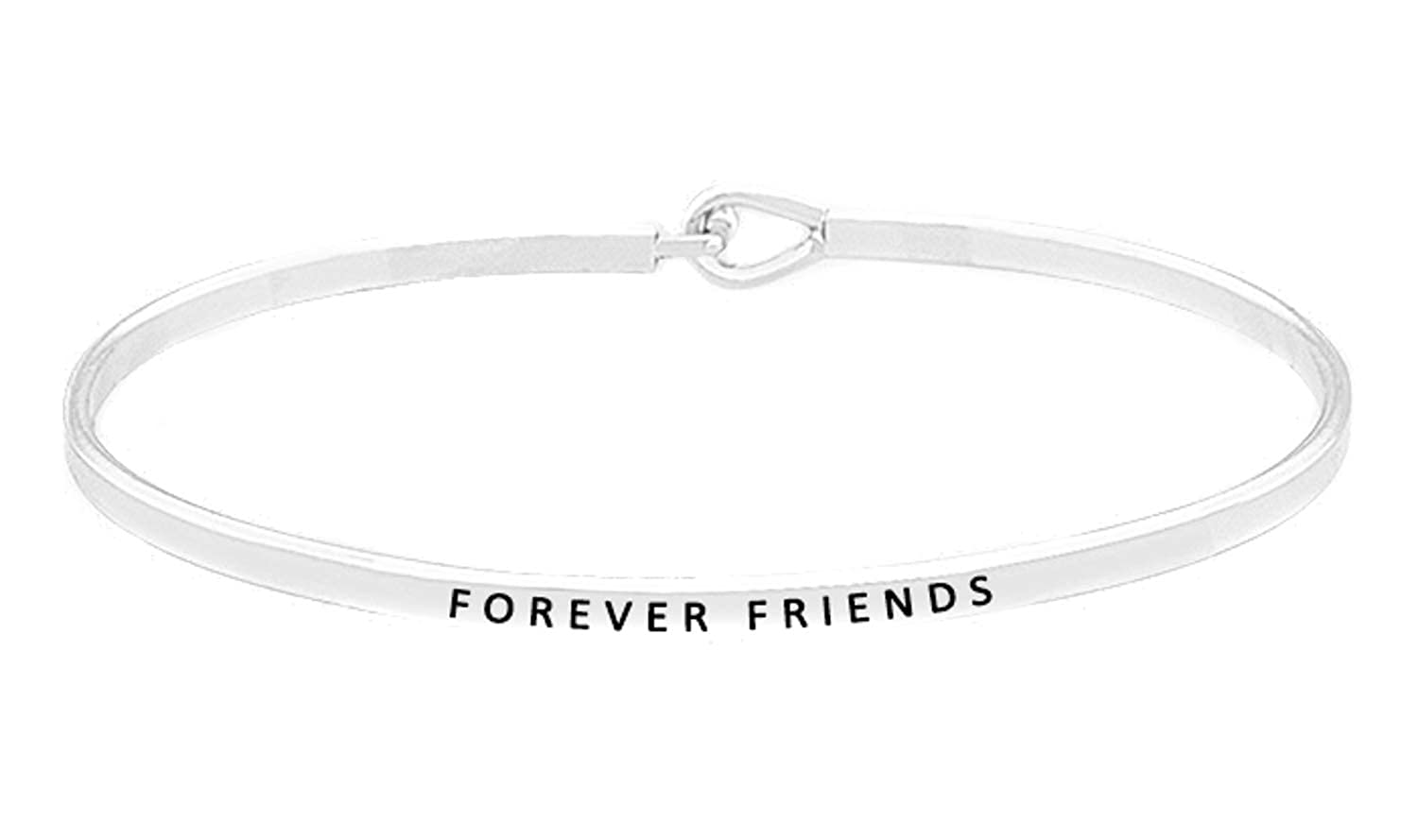 OHBOOBA Inspirational Expandable Thin Engraved Message Forever Friends Cuff Bangle Bracelets