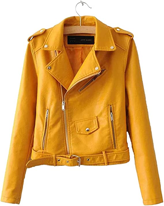 URIBAKE ❤️ Womens Fashion Jacket Faux Leather Slim Belt Zipper Pocket Racing Style Biker Jacket Pink