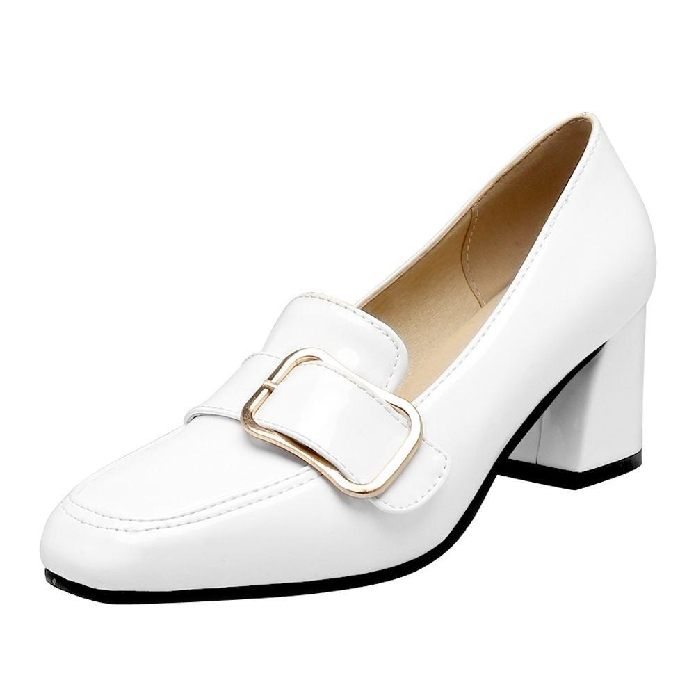 Show Shineレディースカジュアル高ヒールスクエアトウドレスパンプス靴 B06XHXD7MV 10 B(M) US|ホワイト ホワイト 10 B(M) US