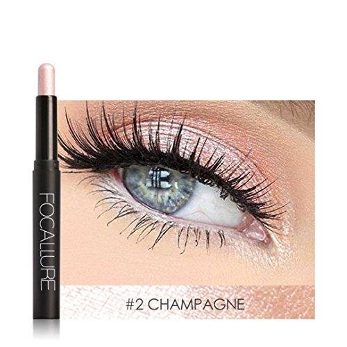 OUFENLI Highlighter Eye Shadow Stick Cosmetic Lying Silkworm Big Smokey Eyes Shimmer Automatically Rotate Glitter Eye Liner Pen Makeup Set (B)