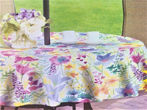 Vinyl Design Tablecloth Umbrella (Elrene Small Colorful Summer Flowers on Vinyl Flannel Back Tablecloth with Zipper Umbrella Hole (60