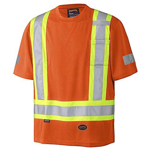 Pioneer V105115R-M Hi-Vis Birdseye Safety T-Shirt, Orange, M