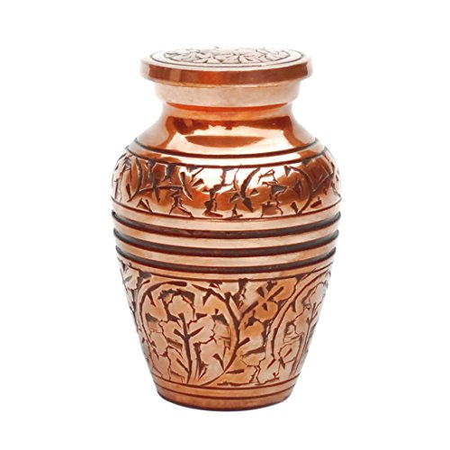Gosdepot Mini Brass Keepsake Urn for Cremation Urns for Ashes in Copper Finish