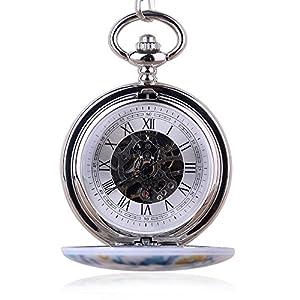 Reloj de bolsillo de porcelana retro azul y blanco, unisex, números romanos, mecánico, con cadena