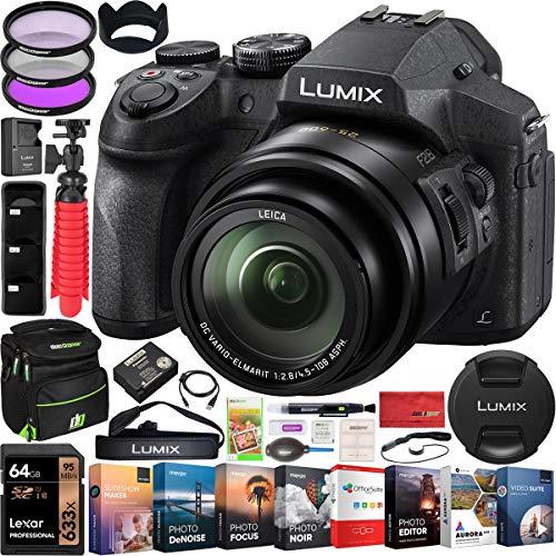 Panasonic Lumix FZ300 4K Point and Shoot Digital Camera with 24x Leica DC Vario-Elmarit 25-600mm Lens DMC-FZ300K Bundle with Deco Gear Bag Case + Filter Kit + Photo Video Software & Accessories