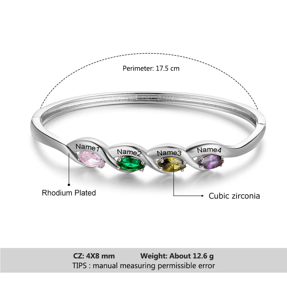 Amazon.com: Personalized Mother Daughter Bangle Cuff 4 Kid ...