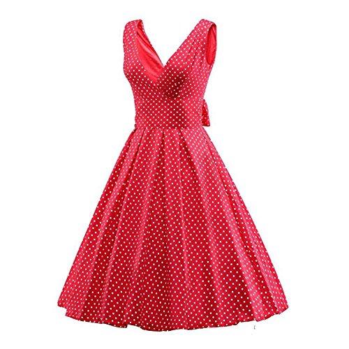 Padgene Vestidos para Mujer Vintage Elegantes Sin Manga Mujer Noche Fiesta Roja+lunares