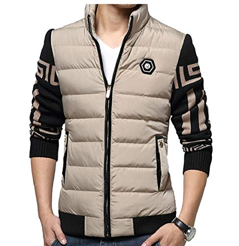 security Men's Cotton Warm Thick Winter Down Jackets Stand Collar Coats Khaki