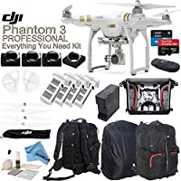 DJI Phantom 3 Professional Everything You Need Kit With Deluxe Backpack & eDig Kit: Includes 4 Piece Filter Kit, 4 Batteries, 4 Battery Charging Hub and more...