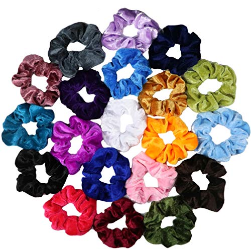 BEAUTY WORKS 20 Pcs Hair Scrunchies Velvet Elastic Hair Bands Scrunchy Hair Ties Ropes Scrunchie for Women or Girls Hair Accessories - 20 Assorted Colors Scrunchies (20 PCS Velvet Hair Scrunchies)