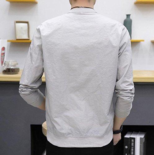 Fit Weight Vogue Light Color Grey Coat Jacket Pure Full Men XINHEO Zip Slim zqwI88T