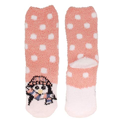 Penguin Face - Women's 1 Pair Super Soft Cute Fuzzy Cozy Warm Animal Face Indoor Outdoor Cabin Crew Home Socks, Penguin