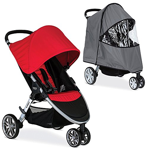 Britax 2017 B-Agile Stroller with Rain Cover, Red