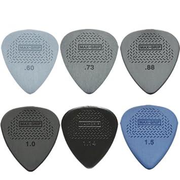 12 x Púas para guitarra de tamaños Max Grip Dunlop/púas - 2 de cada tamaño en estuche de metal