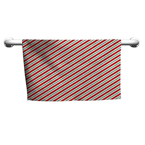 - duommhome Candy Cane Quick Dry Towel Bicolor Stripes and Lines Festive Traditional Design Seasonal Pattern W27 x L55 Red Fern Green White