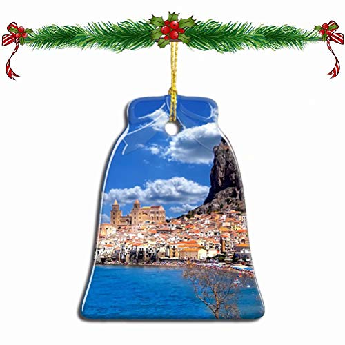 Fcheng Italy Cefalu Sicily Christmas Ornament Ceramic Xmas Tree Decor Bell Shape City Travel Souvenir Sublimation Porcelain Home Decorative Hanging Gifts