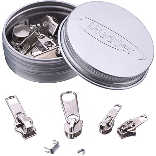 Mudder 36 Pack Zipper Replacement Zipper Repair Kit Silver