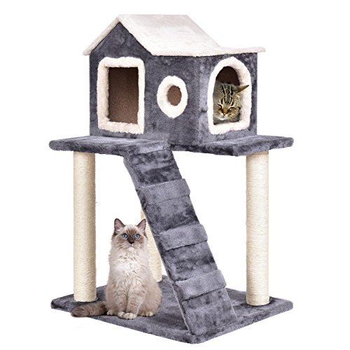Ramp Scratching Kitty (Tangkula Cat Tree Kitty Tower Condo Lovely Pet Furniture with Scratching Posts and Ladder Pet Play Toy House Kitten Activity Tree(36