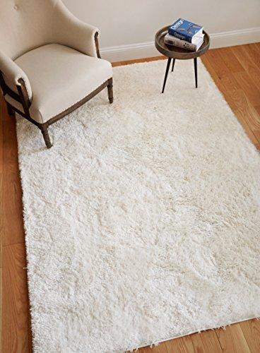 "Well Woven Super Soft Faux Fur Shag 5x7 (5'3"" x 7'3"") Area Rug Natural White Plush Microfiber Thick Plush Pile -  IHS-P-CE-02-5"