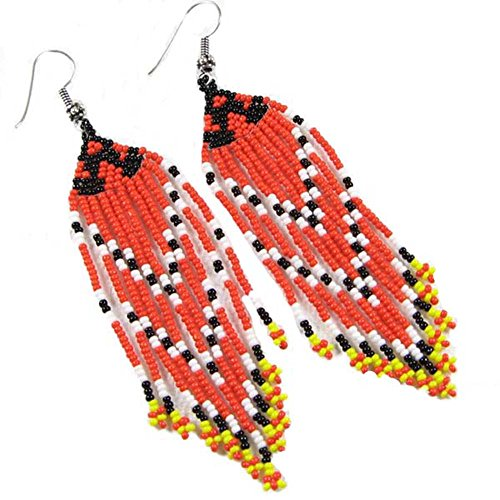 La vivia SEED BEADS CORAL TONE BEADED CHANDELIER EARRING SILVER (Coral Bead Chandelier)