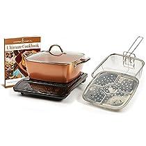 Copper Chef XL 11 Casserole 5 pc Set & Induction Cooktop (Casserole 5pc Set with Black Induction Cooker)