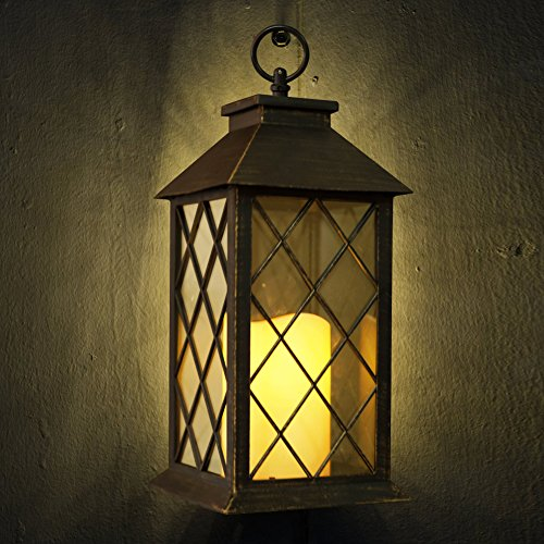 """Outdoor Hanging Decorative Lanterns: Bright Zeal 14"""" TALL Bronze Vintage Candle Lantern With"""
