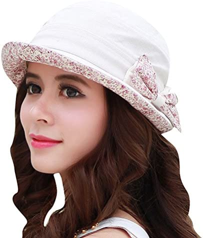 CACUSS Women s Foldable Floral Bucket Hat Rolled Brim with Bowknot ac81f9d1c