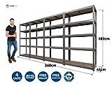 4 Garage Shelving Units 5Tier EXTRA HD - 180 High, 90 Wide, 45 Deep (cm) 265kg Per Shelf 1.2mm Thick Frame