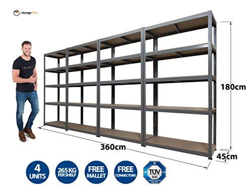 4 Garage Shelving Units 5Tier EXTRA HD - 180 High, 90 Wide, 45 Deep (cm)...