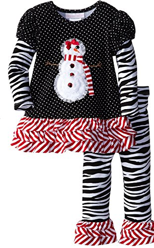 Snowgirl Skirt - Bonnie Baby Baby Girls' Snowgirl Appliqued Legging Set, Black, 18 Months