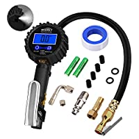 Tire Pressure Gauge Inflator Deflator Digital 235 PSI with Air Chuck Valve Set and Compressor Accessories Heavy Duty with Hose and Quick Connect Coupler for 0.1 Accuracy, Brass Chuck Rustroof Backlit