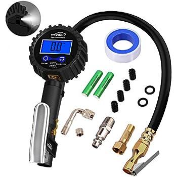 Manfiter Tire Pressure Gauge Inflator Deflator Digital with 235 PSI Compressor Accessories Heavy Duty Brass Air Chuck Valve Set & Hose Quick Connect Coupler ...