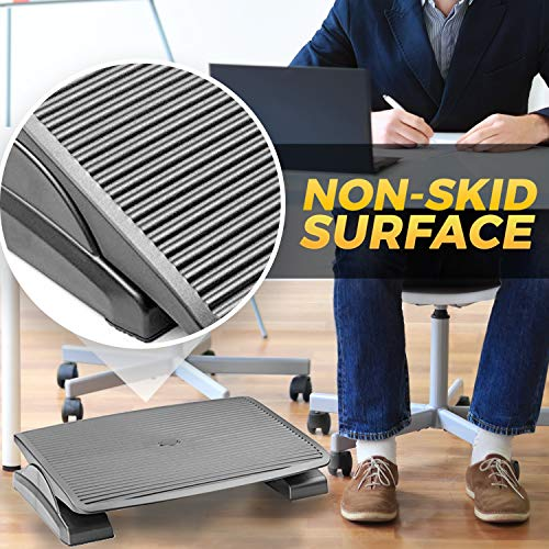 Under Desk Foot Rest, Black Footstool & Office Ergonomic Footrest, Adjustable Angle & 3 Positions, 17.6'' X 13.1'' - Great for Home & Work - 10 Pack by Halter (Image #5)