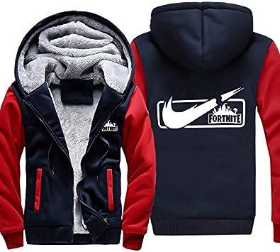 メンズフーディーフルジッパープリントFORTNITEベルベットパッド入りフード付きセーターコートフリースフーディー、冬に最適