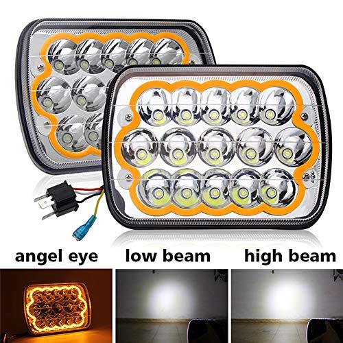 led headlight 7x6 5x7 inch yellow angle eyes Sealed Beam Replacement Hi/Lo Beam DRL Fits Jeep Wrangler YJ Cherokee XJ Trucks PICKUP TRUCK, 1003N-yellow-2pcs Colight