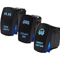 3pcs Rocker Switch Rear Light & Bumper Light & LED Lights Bar Toggle Switch Blue Backlit 5Pin 20A 12V w/Wiring Harness…