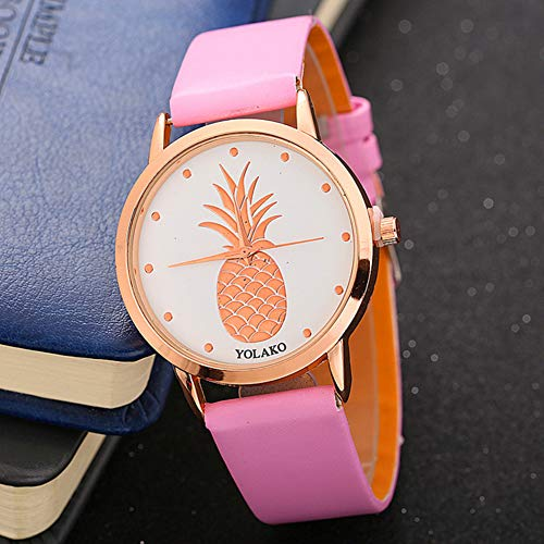 Ladies Watch, Women Pineapple No Number Round Dial Faux Leather Band Analog Quartz Wrist Watch by Gaweb (Image #8)
