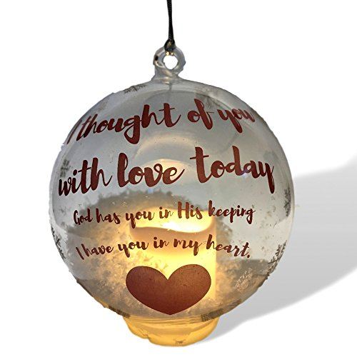 In Loving Memory Ornament - LED Glass Ball Ornament with Candle - Light Up Memorial Keepsake - I Thought of You With Love (Ornament Candle)