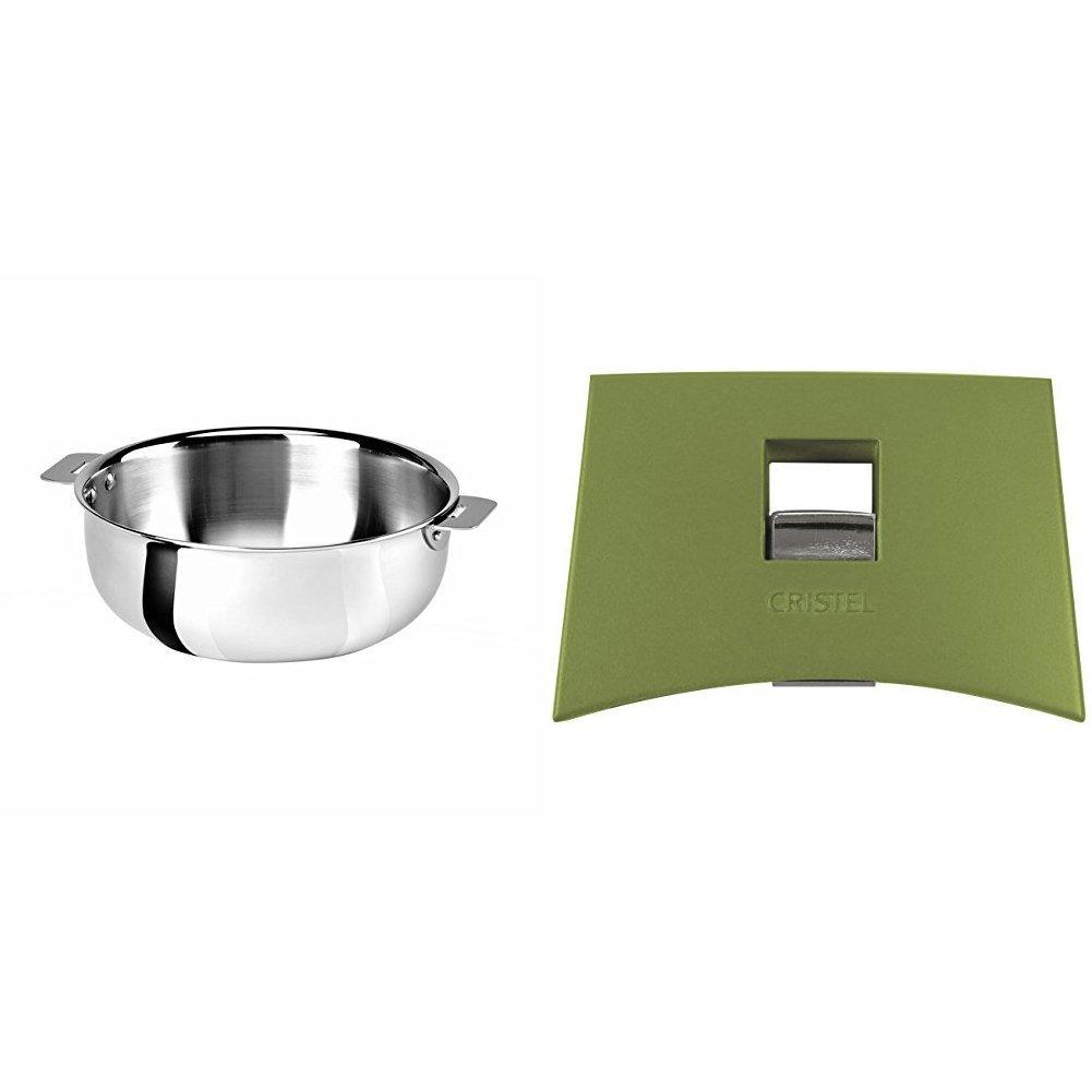 Cristel SR22QMP Saucier, Silver, 3 quart with Cristel Mutine Plmavt Side Handle, Green