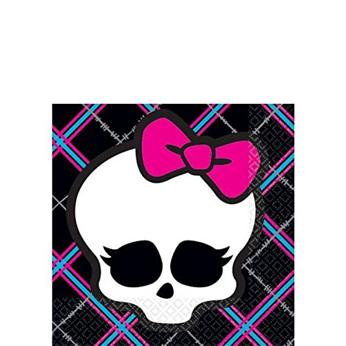 Lunch Monster Napkins High (Amscan Freaky Fab Monster High Plaid (16 Piece), Black/Hot Pink/Cyan/White/Grey, 5 x)