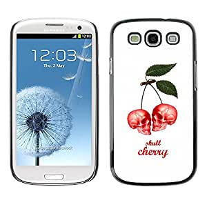 Carcasa Funda Prima Delgada SLIM Casa Case Bandera Cover Shell para Samsung Galaxy S3 I9300 / Business Style Cherry Skull Berries White Poster