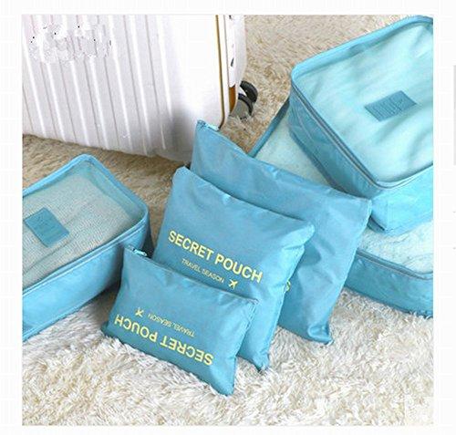 AIMODENG varisized Organizer Storage Case Multifunktionale Tragbar Reise Gepäck Koffer Verpackung Cubes Tasche Duffle Bag Make Up Tasche für Kleidung Unterwäsche Krawatten Schuhe Socken Kosmetik 6Pcs