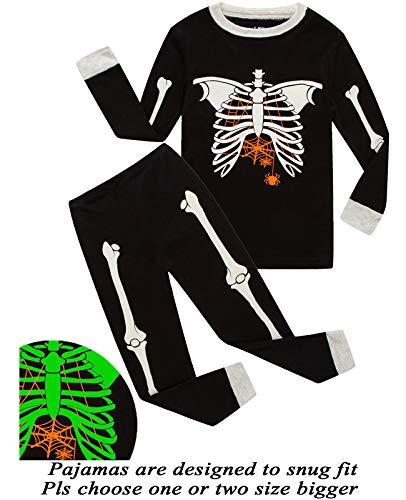 Boys Pajamas Skeleton-Glow-in-The-Dark Toddler Clothes Kids Pjs Sleepwear Shirts Size -