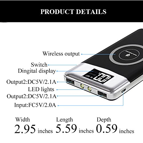 FDGAO Wireless Power Bank, Portable Charger 10000mAh Wireless Portable Charger with LED Digital Display Fast Charging for iPhone 8/8 Plus/iPhone X,Samsung Galaxy Note8/S8/S7/S7 Edge (Black) by FDGAO (Image #1)