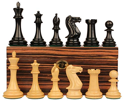 Staunton Chess Set Ebonized & Boxwood Pieces with Macassar Ebony Chess Box - 3.5