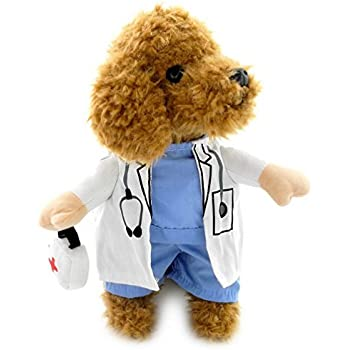 this item selmai doctor suit cool dog halloween costumes puppy coat blue dog shirt white gown clothes for small dogs xl - Halloween Costume For Small Dogs