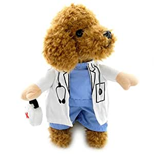 SELMAI Doctor Suit Cool Dog Halloween Costumes Puppy Coat Blue Dog Shirt White Gown Clothes for Small Dogs XL