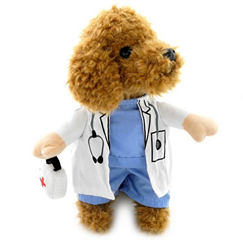 [PEGASUS Doctor Dog Cat Costume Blue Shirt White Gown Coat Small Puppy Pet Clothes Medicine Box Decorated] (Pomeranian Costume)