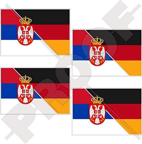 Serbien Deutschland Serbisch Deutsch Flagge 50mm Auto Motorrad Aufkleber X4 Vinyl Stickers Garten