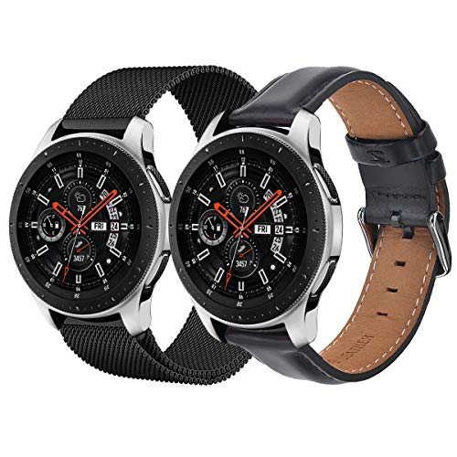 TOROTOP Band Compatible with Samsung Galaxy Watch 46mm Bands,22mm Leather Band+Milanese Loop Mesh Stainless Steel Metal Business Replacement Bracelet Strap for Galaxy Watch 46mm /Gear S3 (2 in1)